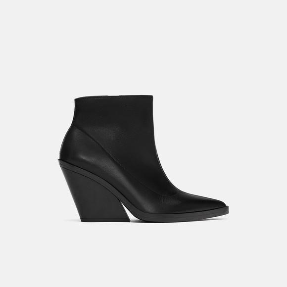 dd921e40f37 NWT Zara Size 6 EU 36 Leather Wedge Ankle Boots NWT